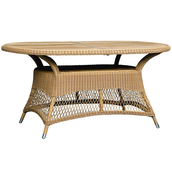 oval long synthetic rattan dining table
