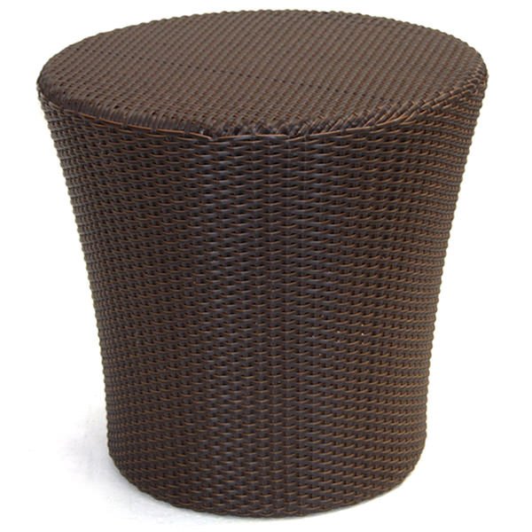 round black synthetic rattan side table