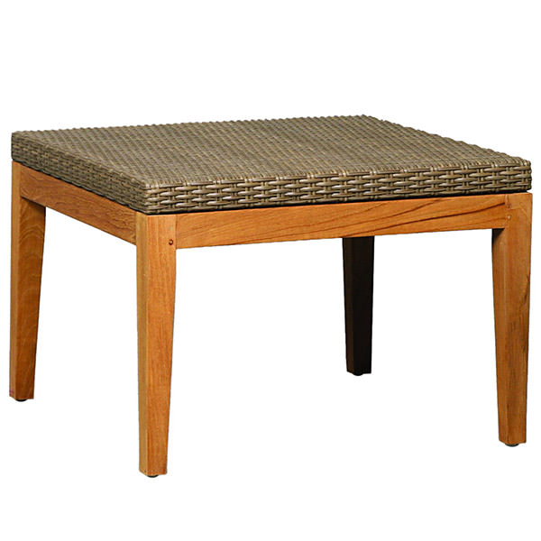 synthetic rattan side table with teak wood legs