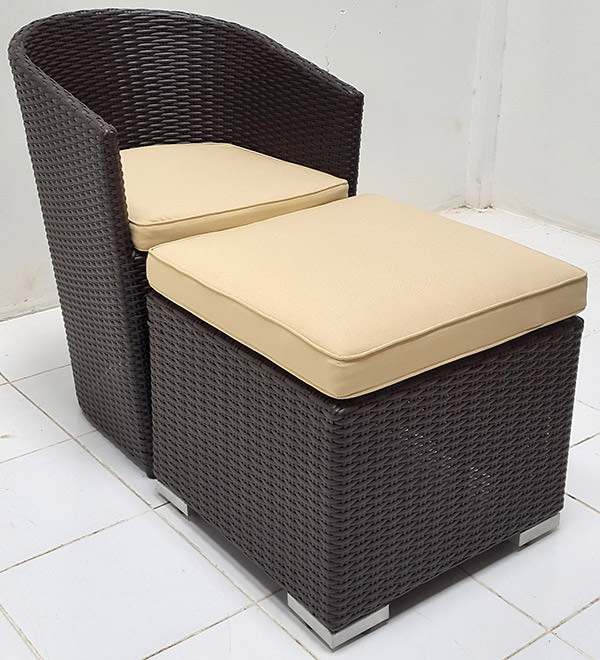 back wicker garden armchair and leg ottoman