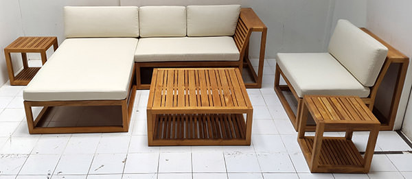 Teak L-shaped sofa and square coffee table