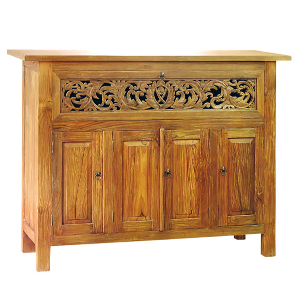 Teak cabinet with wood carvings