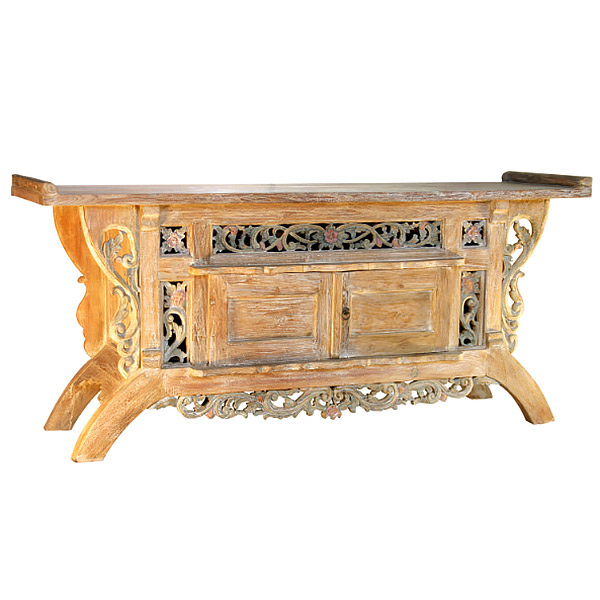 Asian teak cabinet with carved ornaments