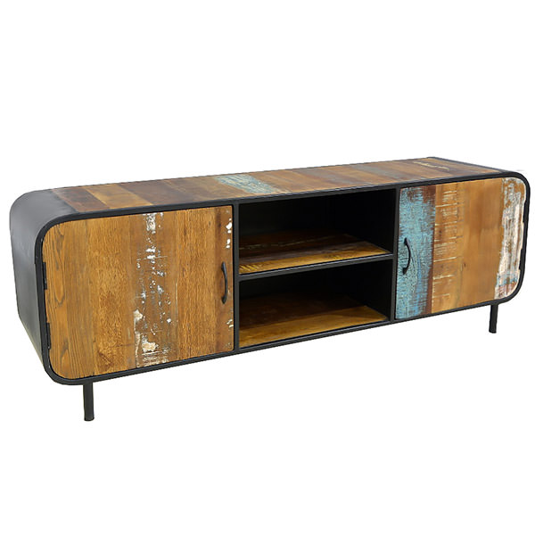 Metal and boat wood TV cabinet with two shelves and two doors