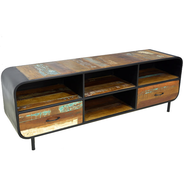 Metal and boat wood TV cabinet with four shelves and two drawers