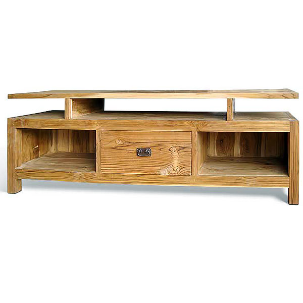 Teak wood TV cabinet with three shelves and one door