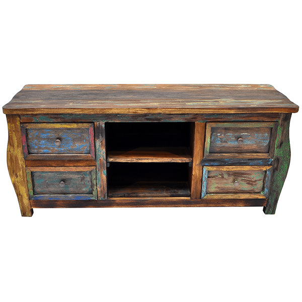 Teak wood TV cabinet with one shelf and four drawers