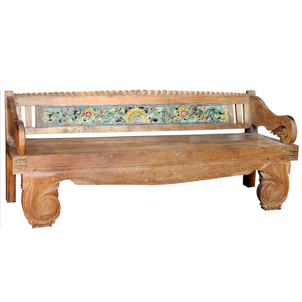 hand painted teak bench