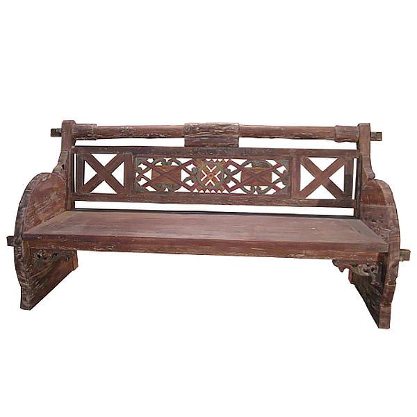 dark brown teak bench