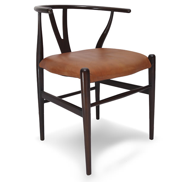 teak chair with leather and wood