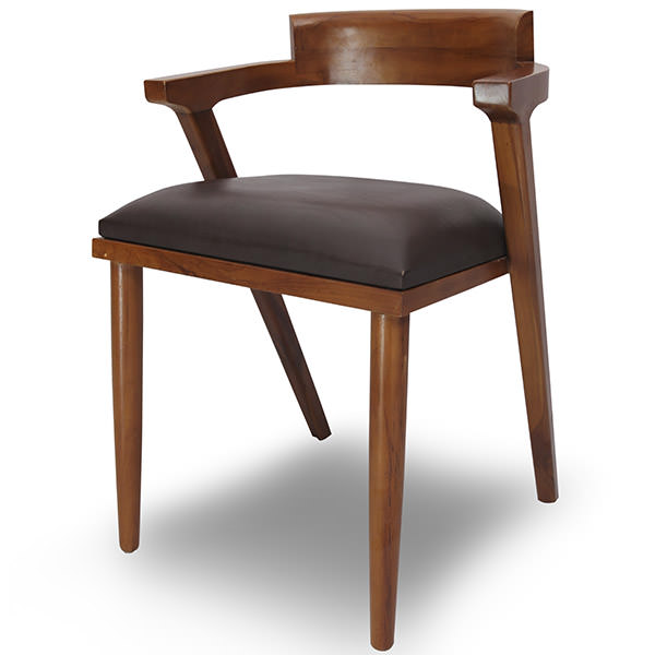 scandinavian teak chair with leather and wood