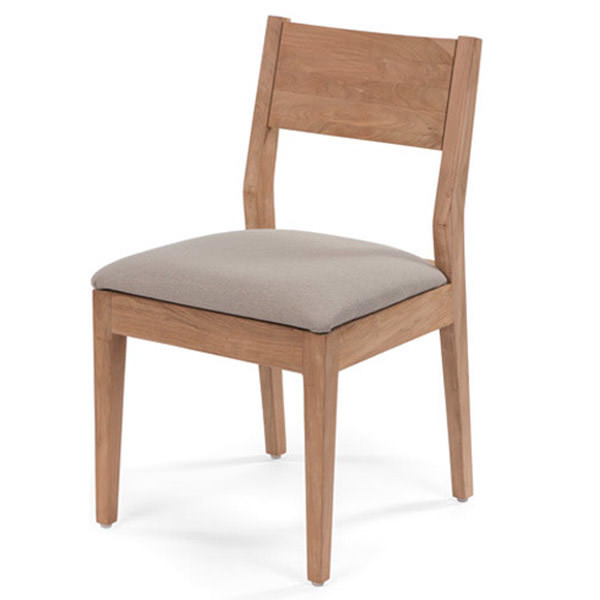 teak chair with linen and wood