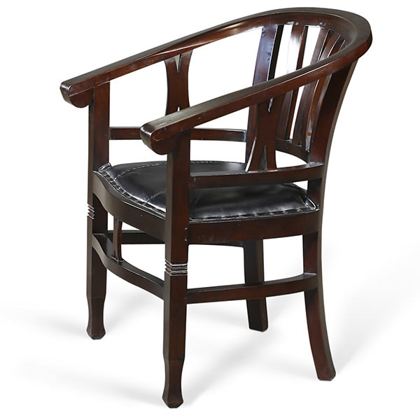 dark brown teak armchair