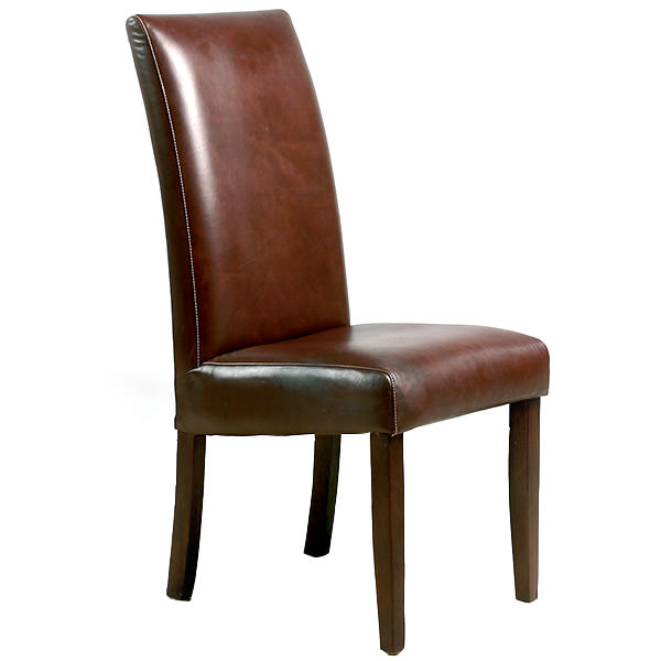 dark brown leather teak chair