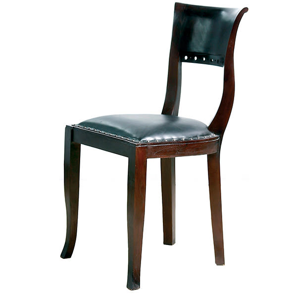 black leather teak chair