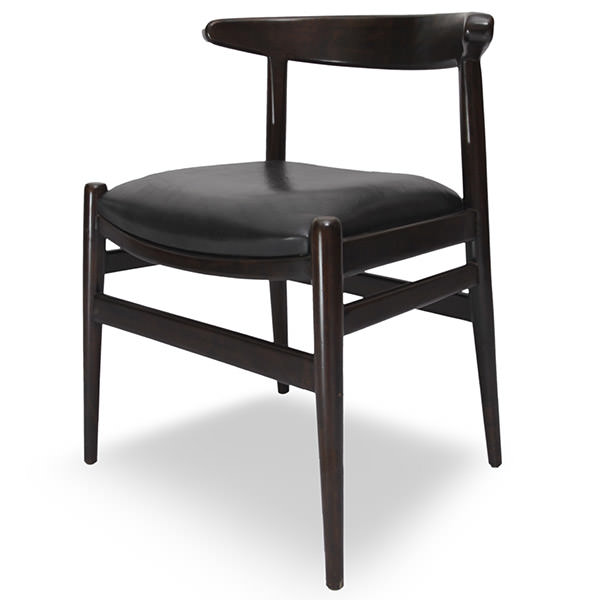 black leather Scandinavian teak chair