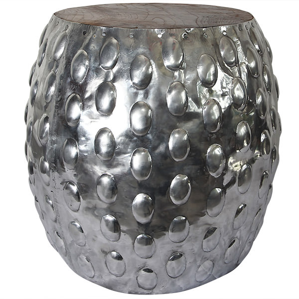 aluminium and teak stool
