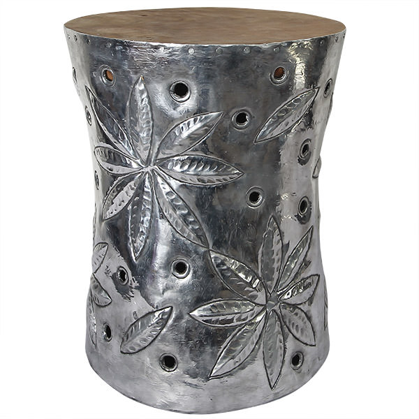 aluminium and teak stool with flower drawing