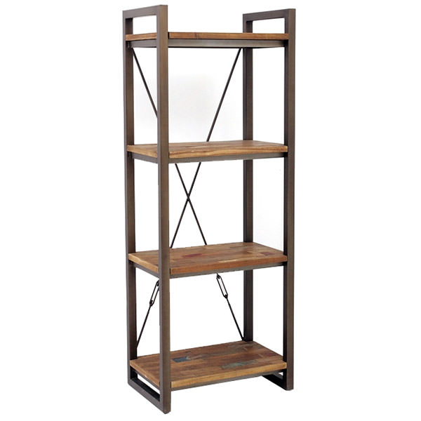 Metal and teak book case with 4 shelves