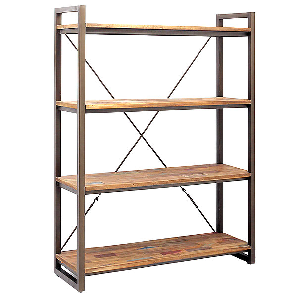 158cm wide metal and teak book case with 4 shelves