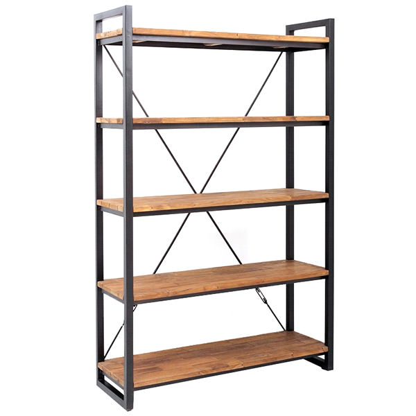 120cm wide metal and teak book case with 4 shelves