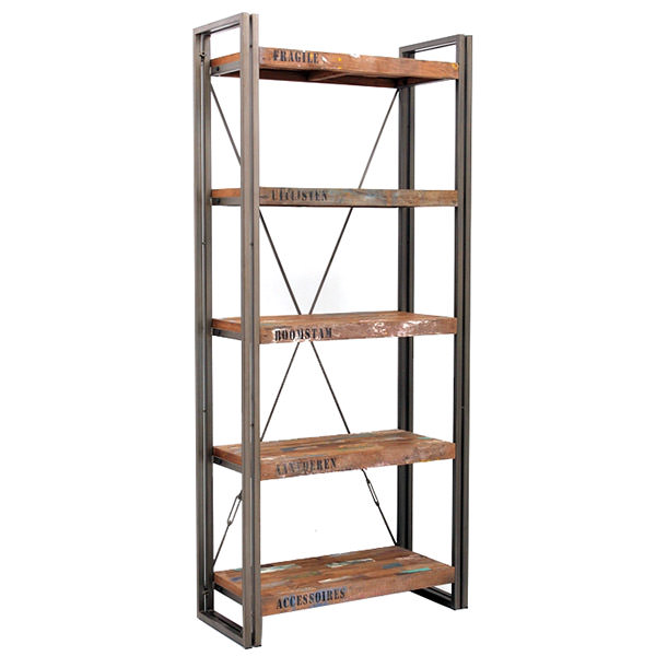 Metal and recycled teak book case with 4 shelves