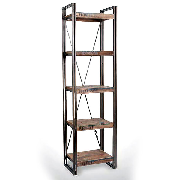 Narrow metal and teak book case with 4 shelves