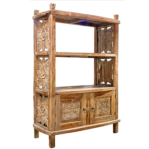 Traditional teak book case with two shelves and two doors