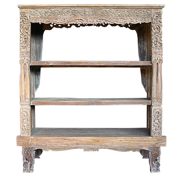 Traditional teak book case with three shelves and carvings