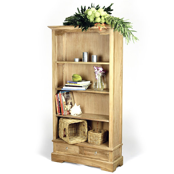 Natural teak book case with four shelves