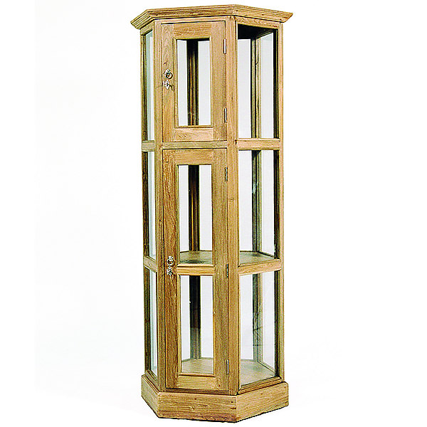 Glass and Natural teak book case with three shelves