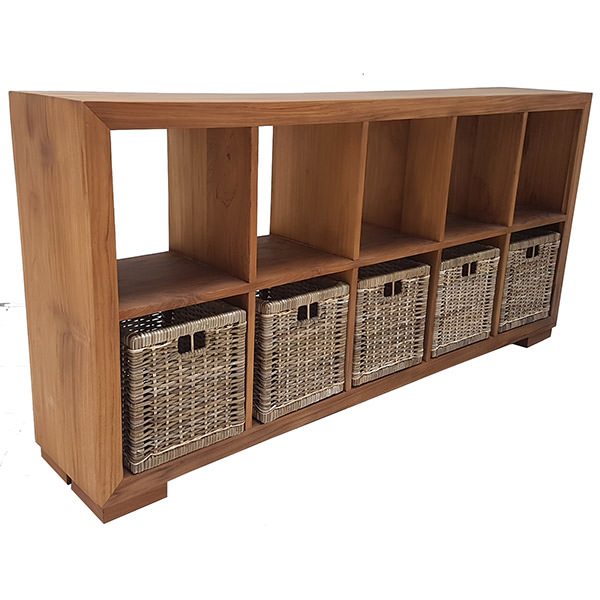 Teak book case with ten shelves