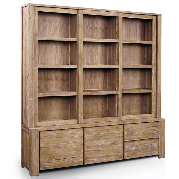Teak Book Case With Twelve Shelves Two Doors And 2 Drawers