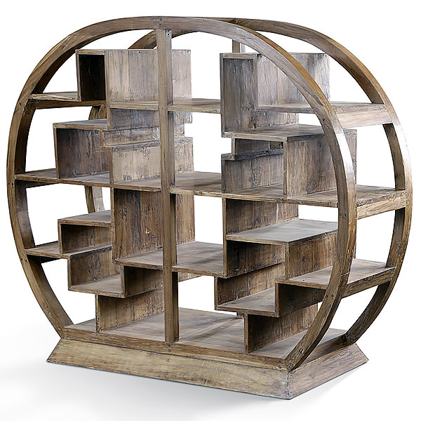 Traditional round asian teak book case