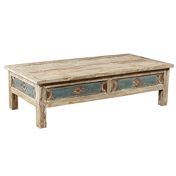 hand painted teak coffee table