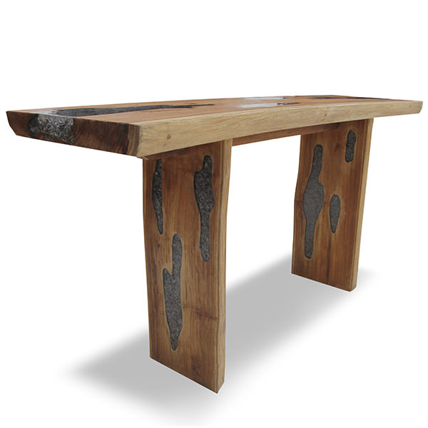 teak console table with resin