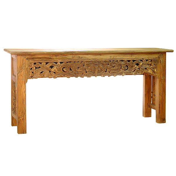 teak console table with carvings