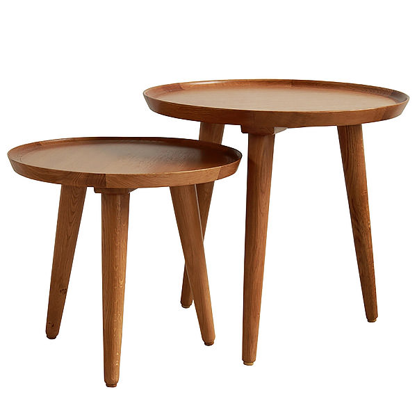 Set of two teak side tables