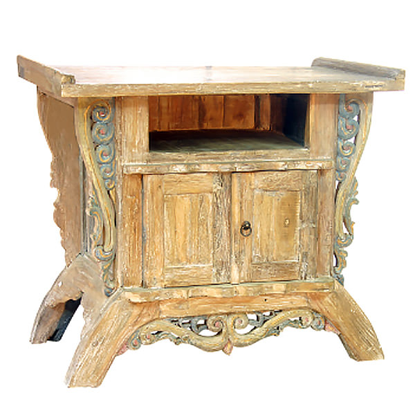 Teak side table with carvings
