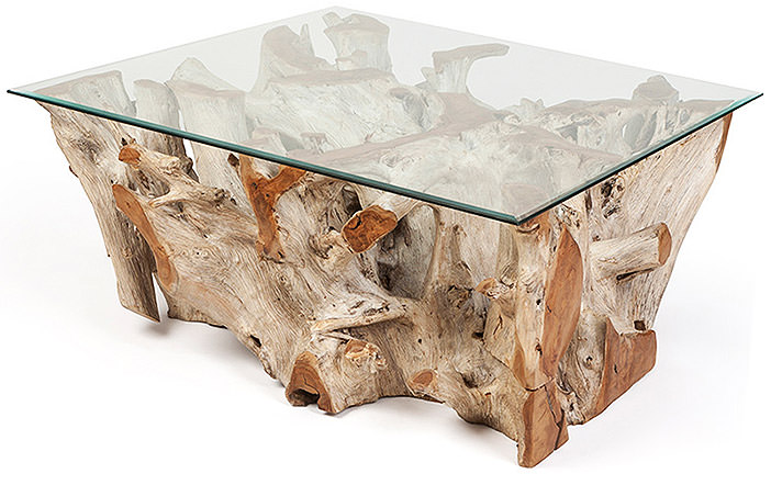 teak root table with glass top