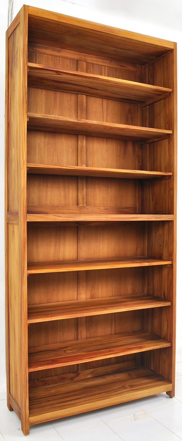 teak wooden bookcase with simple design
