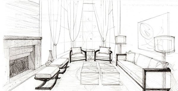 Living Room Design Sketch