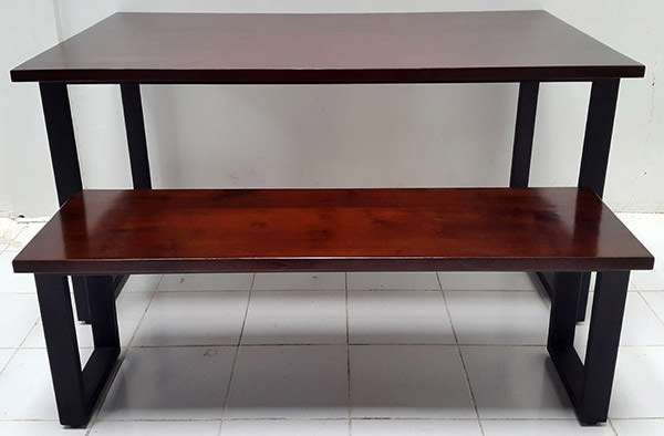 wood and iron table and bench