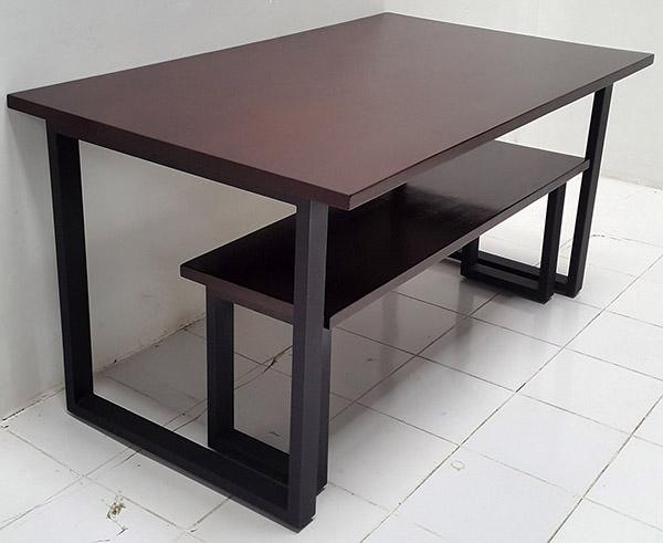 dark brown mahogany table and bench set