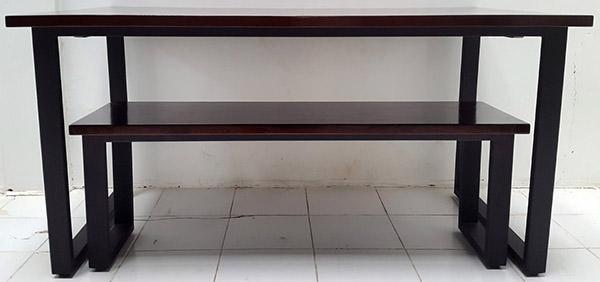 dark brown mahogany wood table and bench