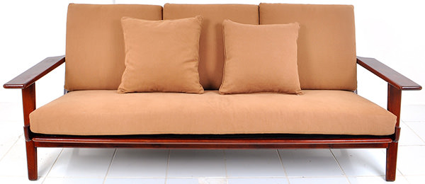 indoor couch with salmon linen
